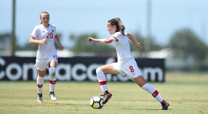 Caitlin Shaw goes on the attack during the Concacaf U-17 championships held earlier this year. The North Vancouver teenager will suit up for Team Canada in the FIFA U-17 World Cup starting next week in Uruguay. Photo by Billy Dzwonkowski/Canada Soccer