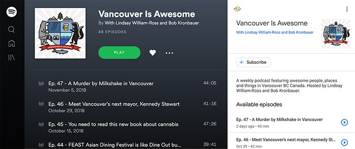 Our podcast is now available on Spotify and Google Podcasts. Screengrabs