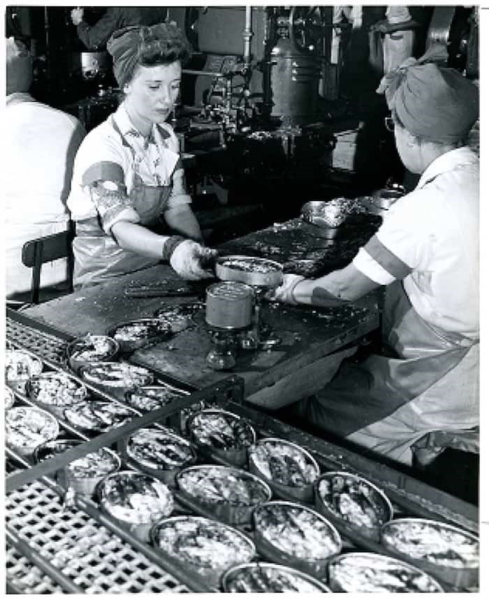Female workers called themselves 'cannery girls' during wartime to emphasize their femininity while working in roles that were traditionally held by men.