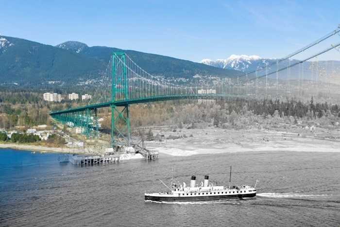 A small Union Steamship is passing under the Lions Gate Bridge during its construction. (1938 and Now)