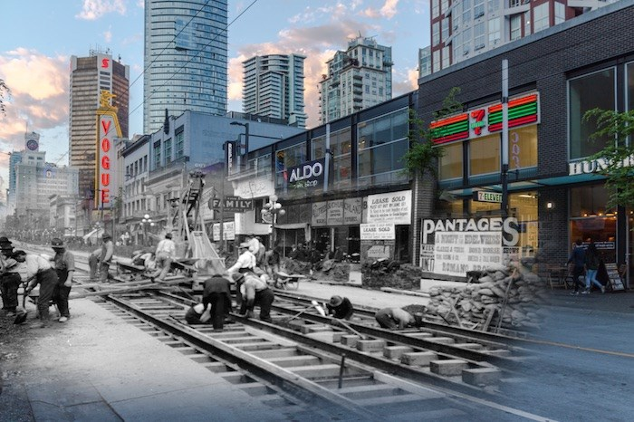 A work crew carries out the arduous task of laying streetcar tracks on Granville Street. You can see in the background the brand new Vancouver Block which dominated the skyline at this time. (1912 and now) - On This Spot / Vancouver Archives AM54-S4-: Str N244.2