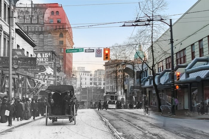 Looking back down Hastings towards the Dominion Building. (1910 and Now) - On This Spot / Vancouver Archives AM54-S4-: Str P210