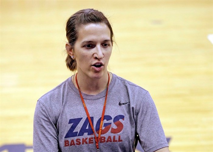 Gonzaga head coach Lisa Fortier talks at a practice a day before the team's first round NCAA tournament college basketball game Friday, March 17, 2017, in Seattle. Gonzaga is among the teams taking part in the inaugural Vancouver Showcase. The tournament will see some of the world's best collegiate basketball players face off over six days. THE CANADIAN PRESS/AP/Elaine Thompson