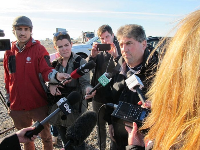 Paul Cottrell, Marine Mammal coordinator for Fisheries and Oceans Canada updates media on the investigation. - photo by Ian Jacques