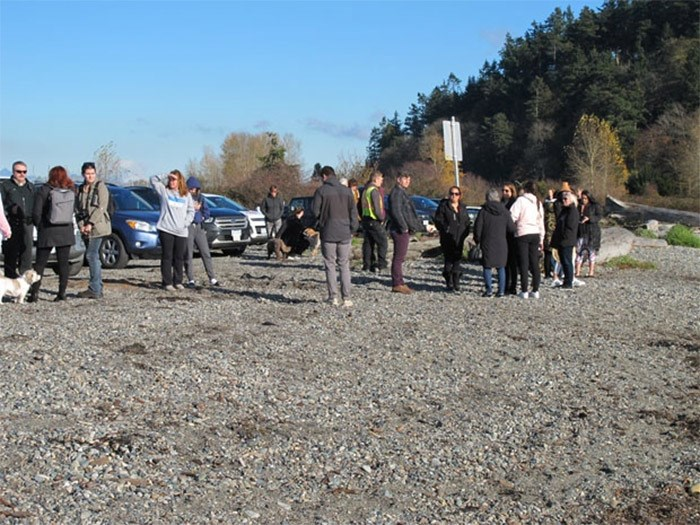 Crowds of on-lookers began to form throughout the morning as word of the dead whale sighting spread. - photo by Ian Jacques