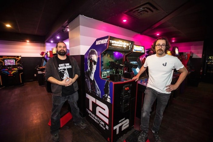 Steve Webb, left, and Justin Lafreniere opened Quazar's Arcade in Trounce Alley on Saturday, Nov. 17, 2018. (Photo by Darren Stone/Times Colonist)