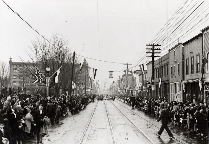 Royal visit on the 400 block of Powell Street in 1939. Nishihata-01 Japanese Canadian National Museum