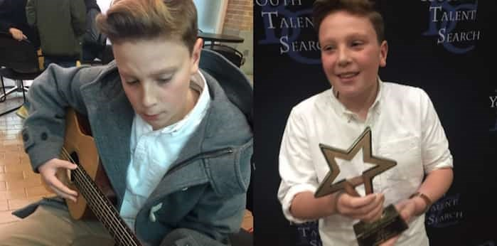 Charlie Barstow, 13, plays his guitar (left) and holds his BC Youth Talent Search award (right). Photos: Russ Barstow