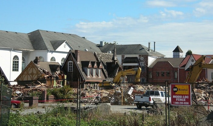 Demolition of many structures at Fantasy Garden World in Richmond in 2010. The castle, however, remains standing (