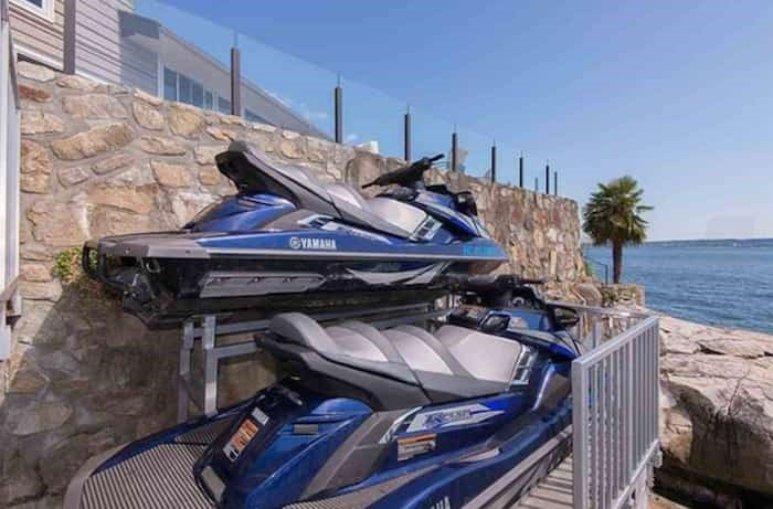 This automatic hoist will lower your two new jet skis (included in the price) into the ocean, and away you speed for your next spy mission. Listing agent: Nafiseh Samsam