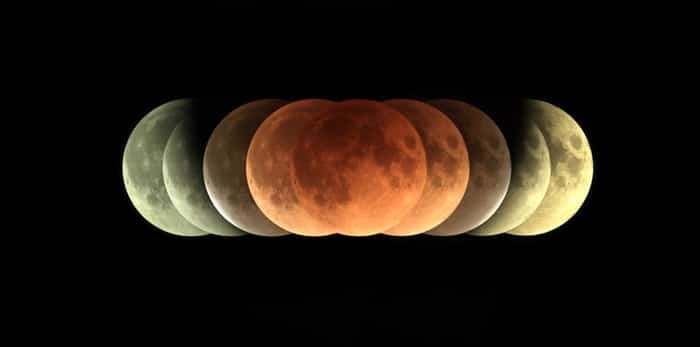 Time series of total Lunar eclipse on 31 January 2018 as it appeared as supermoon at perigee and also a blue Moon as a second full moon of January 2018 / Shutterstock