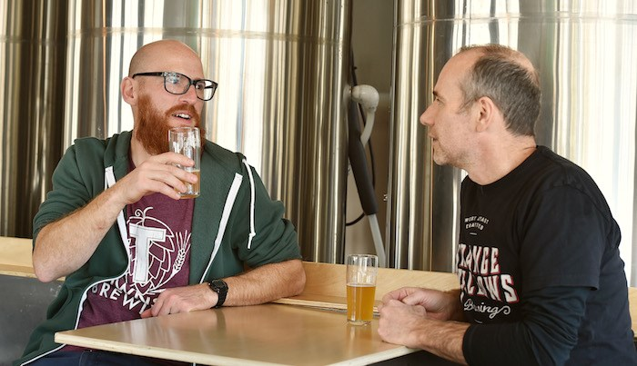Townsite's brewing engineer Cedric Dauchot (left) and Strange Fellows beer particularist Iain Hill.