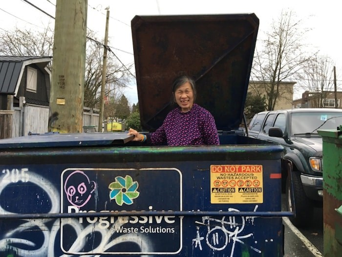 Gia Tran, 62, has been collecting empties and recyclables for more than two decades and donating much of her hard-earned cash to various Vancouver charities. Photo Grant Lawrence