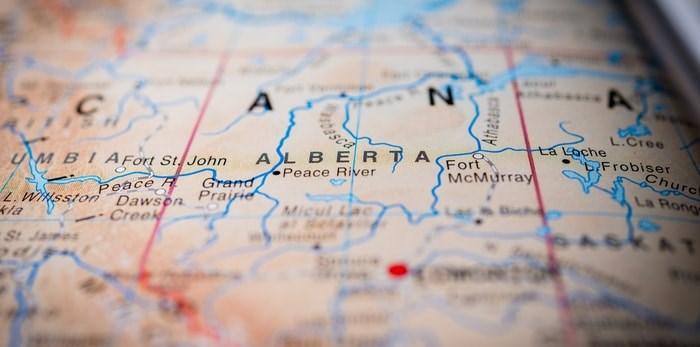 Alberta on the map/Shutterstock