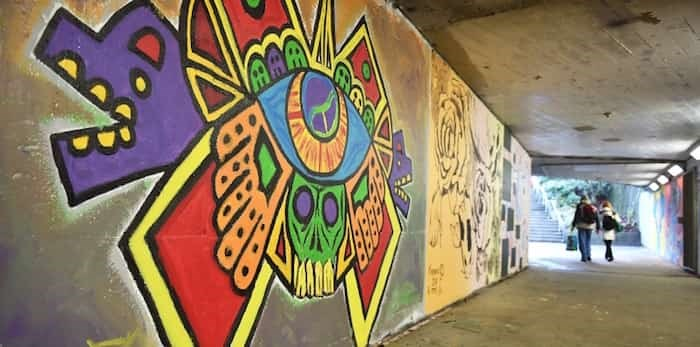 A dozen artists got the chance to have their murals decorate the walls of the pedestrian tunnel connecting Vancouver's Granville Look Park for a year. Photo Dan Toulgoet