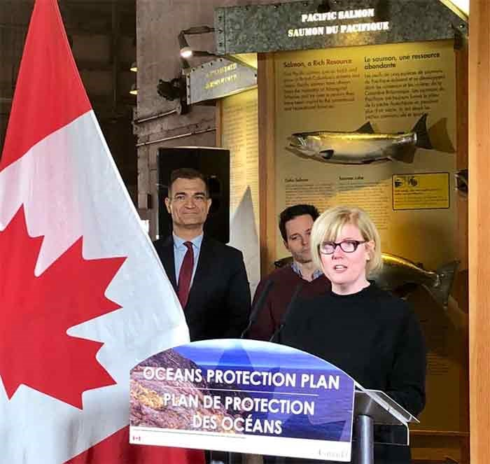 Delta MP Carla Qualtrough announced the $2 million funding on behalf of the Minister of Fisheries, Oceans and the Canadian Coast Guard, Jonathan Wilkinson, on in Steveston last week. Photo: Carla Qualtrough tweeter
