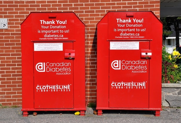Clothing donation bin (Lester Balajadia / Shutterstock.com)