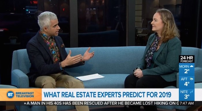 Glacier Media's Joannah Connolly on BT Vancouver January 8, 2019, discussing market forecasts with host Riaz Meghji. Image via btvancouver.ca