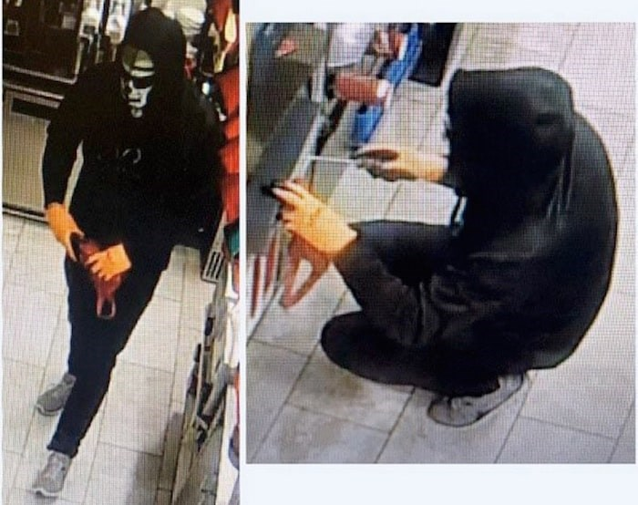 West Shore RCMP is looking for the masked man who broke into a View Royal Tim Hortons on New Year's Day. Photos courtesy West Shore RCMP