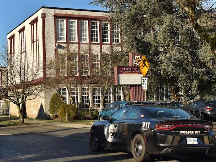 Police cars were parked outside Templeton secondary school Monday morning after an anonymous threat of violence was posted on social media. Photo Dan Toulgoet