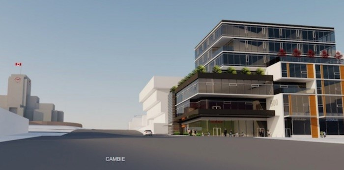Artistic rendering of the future seven-storey development at 510 West Broadway. (W.T. Leung Architects)