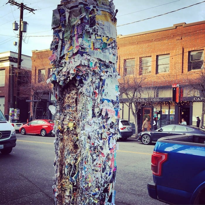 Seattle telephone poles are still plastered with gig posters, as if Facebook Events had never been invented. Photo Grant Lawrence
