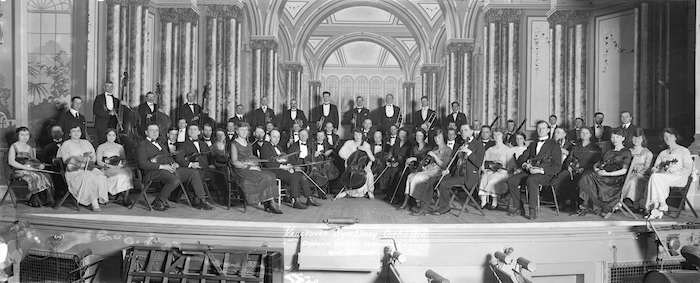Vancouver Symphony Orchestra on stage at The Orpheum, c. 1930. (Vancouver Archives)