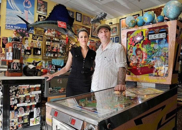 Heather Wallace-Barnes and her husband, Johnny Barnes, are selling their beloved Port Moody shop, Pinball Alley Vintage, so they can move their family to Spain. Photo by Mario Bartel/Tri-City News