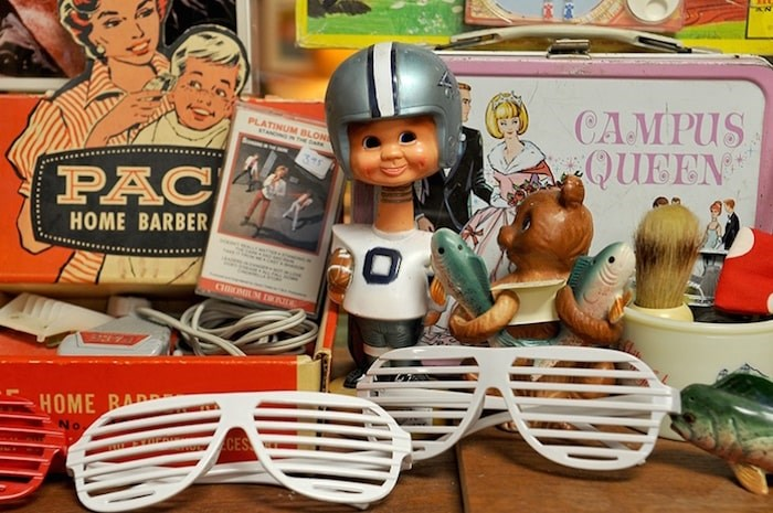 Items on the shelves at Pinball Alley Vintage in Port Moody span eras, from the 1950s to the 1980s.