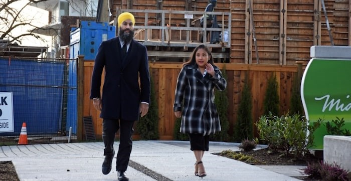 NDP leader Jagmeet Singh was joined by Burnaby renter Farrah Gavina at a Monday press conference. Photo by Kelvin Gawley/Burnaby Now