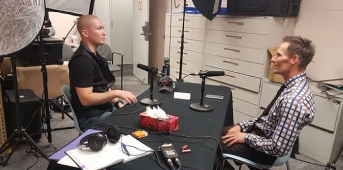 Const. Jordan MacWilliams and Chief Neil Dubord recording the podcast.