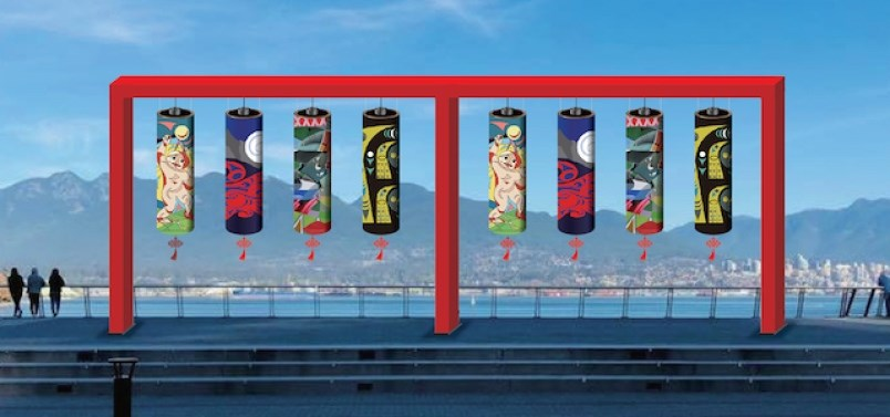 Eight gigantic and iconic lanterns designed by indigenous artist will be on display at Jack Poole Plaza staring Jan. 31. Photo Lunar New Year Festival