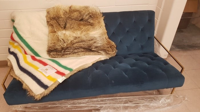 Hudson Bay blanket and couch (Photo courtesy Delta PD)