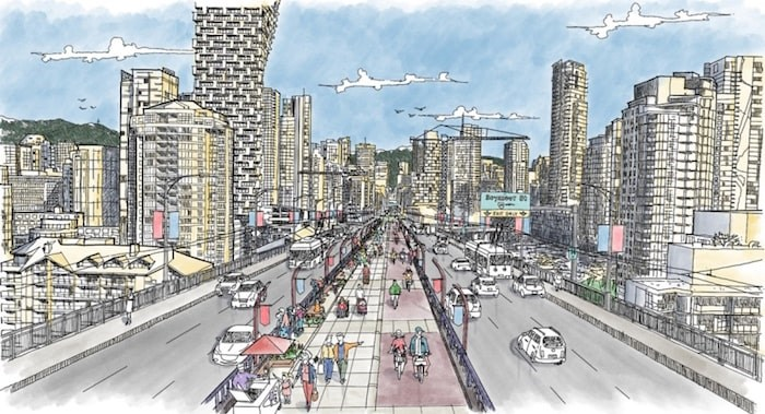 Design concept for a path on the Granville Bridge. Image courtesy City of Vancouver.