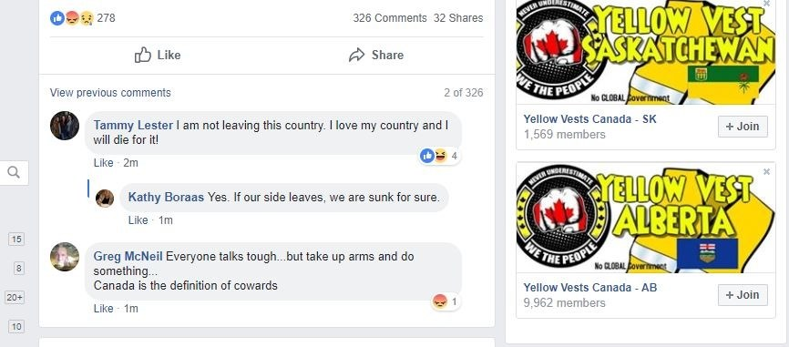 This screenshot of the yellow vests Facebook page includes one member encouraging people to