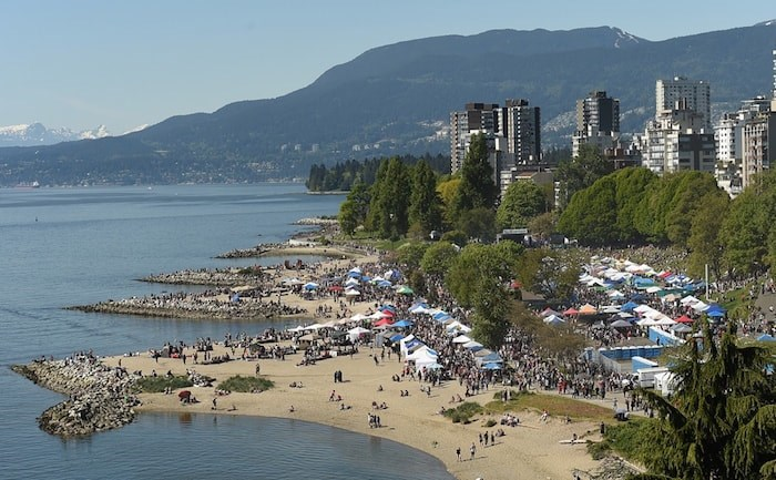 An estimated 40,000 people attended last year's 4/20 event at Sunset Beach. Photo Dan Toulgoet