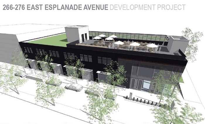 An architect's rendering shows a proposed new brewery at the corner of Esplanade and St Andrews.