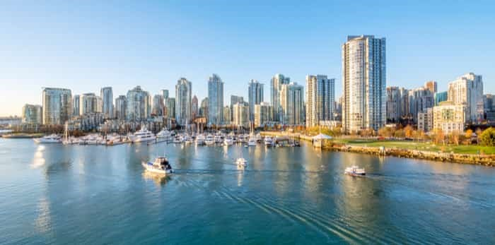 View from the Cambie Bridge. Downtown skyline in Vancouver, Canada