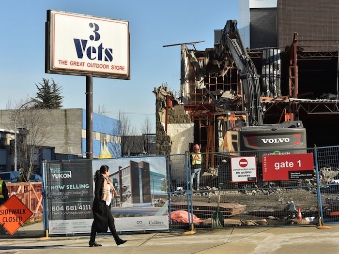 The 3 Vets building on Yukon Street has sat dormant since closing in December 2017. Demolition finally began this week, with a backhoe making short work of the concrete and metal structure. Photo Dan Toulgoet