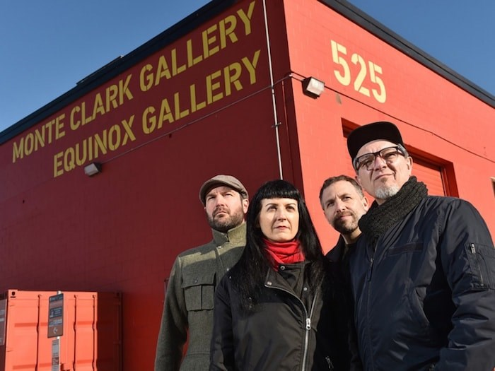 Artists Byron Dauncey, Sally Buck, John Goldsmith and Kent Lins and have placed four photos near 525 Great Northern Way as a way to show their work and protest the eventual demolition of two nearby gallery spaces. Photo by Dan Toulgoet.