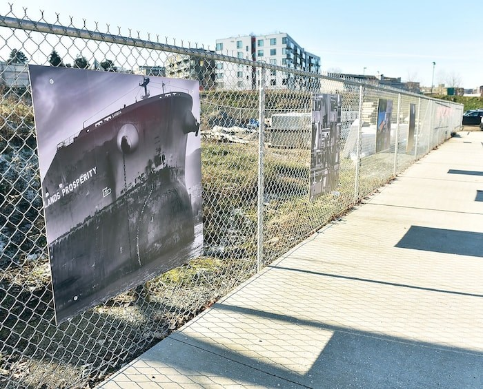 These four photographs by Vancouver artists are hung outside two galleries on Great Northern Way that will be torn down to make way for the Broadway SkyTrain extension. Photo by Dan Toulgoet