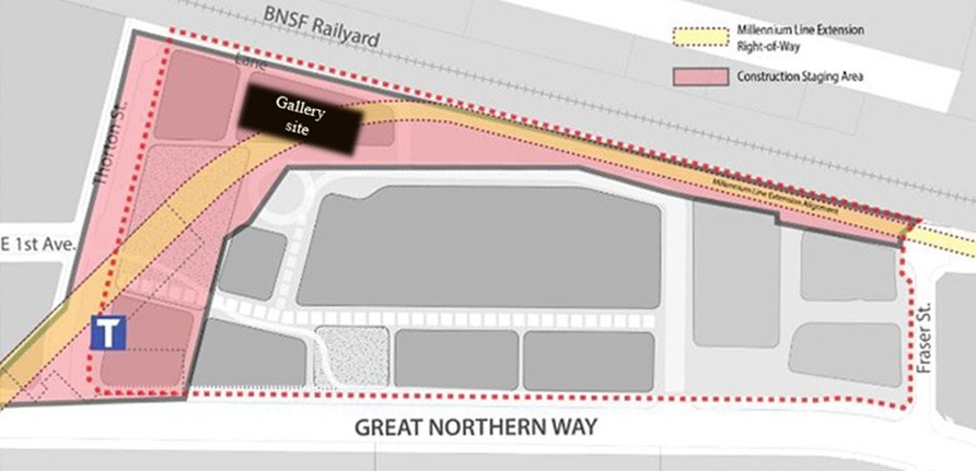 This diagram shows the area to be affected by the Broadway SkyTrain extension. City of Vancouver