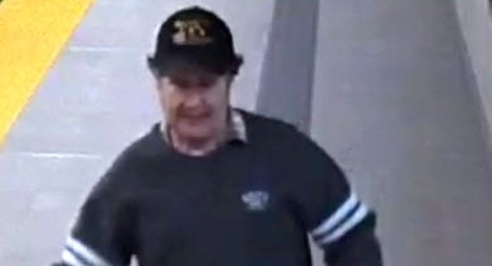 ransit Police released this image of a suspect who departed a SkyTrain car in Burnaby.