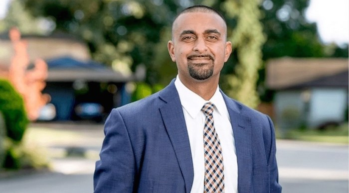 Ravi Kahlon, MLA for Delta North, is on the B.C. legislature's riding-hailing committee. His father owns a taxi in Victoria. Photo via Times Colonist.