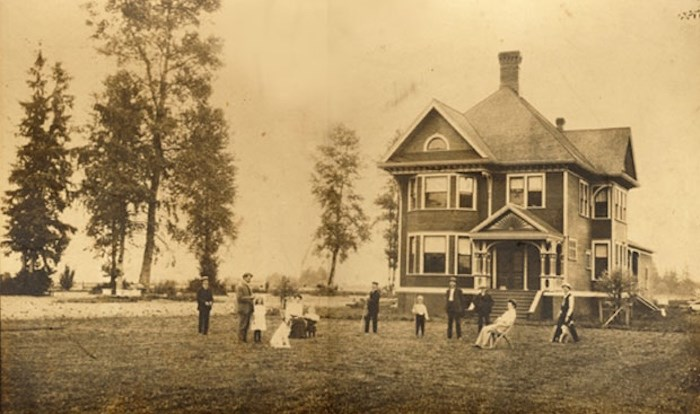 The home in early 1900s, reflecting the turn of the 19th Century economic expansion of Delta's farming industry, and symbolizing the wealth and status attained by the prominent Burr family. Delta Archives