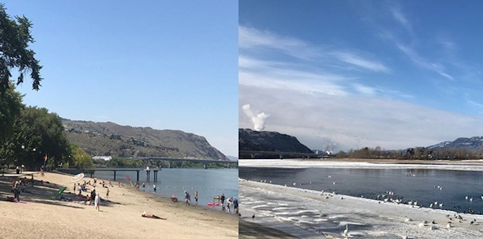 Kamloops has seen its share of extreme weather events. Pictured above: Riverside Park in the summer and winter. (Brendan Kergin)
