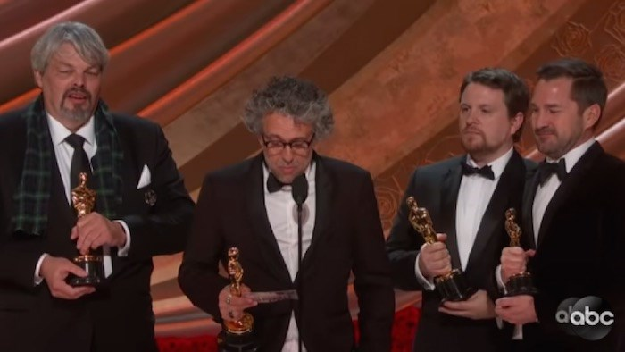 Left to right: Best Visual Effects Oscar winners Ian Hunter, Paul Lambert, Tristan Myles, J.D Schwalm (ABC Television)