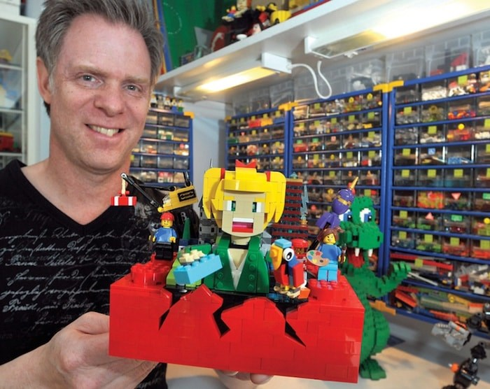 North Vancouver master builder and LEGO artist Paul Hetherington shows off Imagine it! Build it!, his tribute to the Lego brick. The company could soon be producing and selling the model. Photo by Paul McGrath