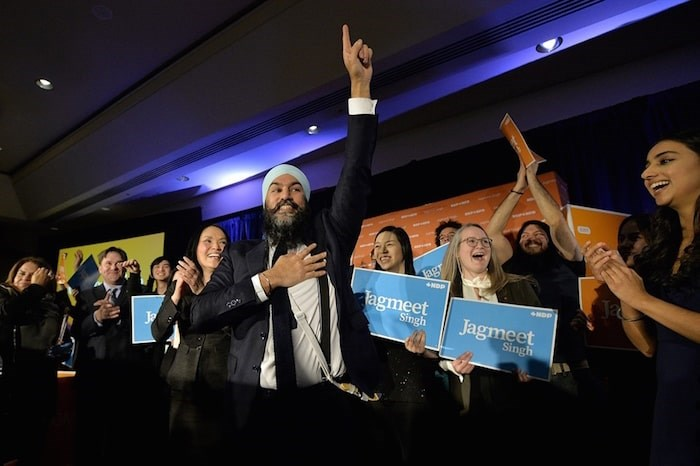 Jagmeet Singh at his victory party Monday night. Photo by Jennifer Gauthier