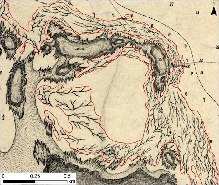 A serendipitous meeting with a colleague last year led to a treasure of historical maps of kelp beds off the British Columbia coast, giving geographers a baseline in understanding the ocean's rainforests. An example of a British chart from the 1850's showing the drawing of kelp blades to indicate kelp beds. THE CANADIAN PRESS/HO-Maycira Costa